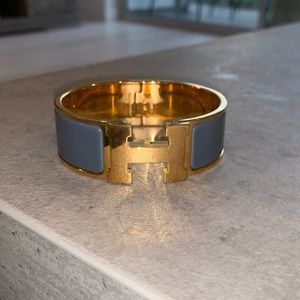 Gold Plated Wide Hermes Click Clac Bracelet GRAY